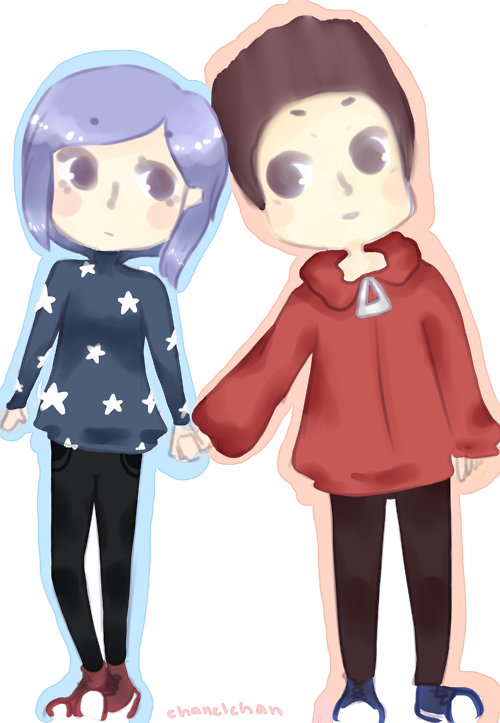 Coraline And Norman In A Anime Chibi Version Tim Burton Characters Horror Movie Art Coraline Jones