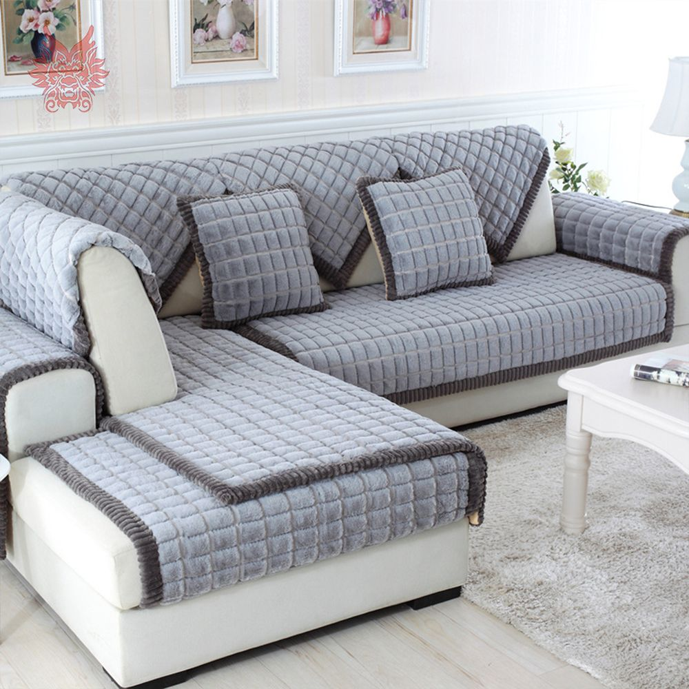 Stupendous White Grey Plaid Sofa Cover Plush Long Fur Slipcovers Fundas Caraccident5 Cool Chair Designs And Ideas Caraccident5Info