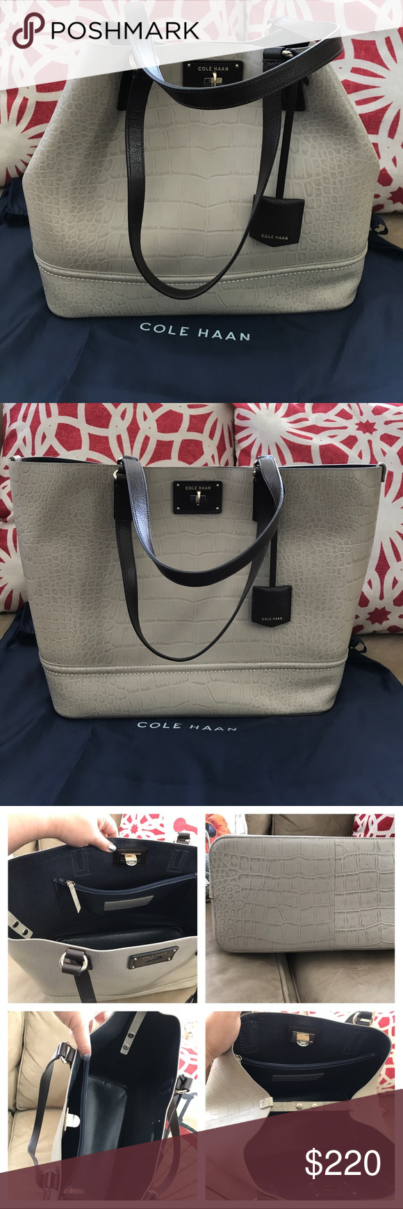 d60c58c26f08 Cole Haan Croc Embossed Leather Tote Taupe Treat yourself to The Jozie tote  from