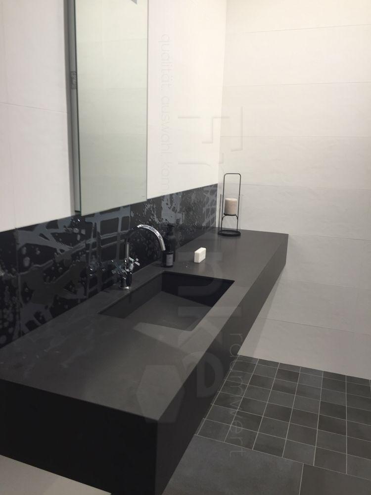 Elegant Elegante Waschtischlösung In Schwarz #Badezimmer #fliesen #schwarz #modern # Neu #waschtisch