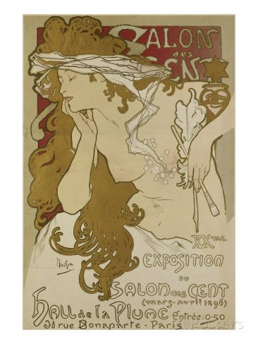 Poster for the Xv. Exhibition of Salon des Cent 1896 reproduction procédé giclée par Alphonse Mucha sur AllPosters.fr