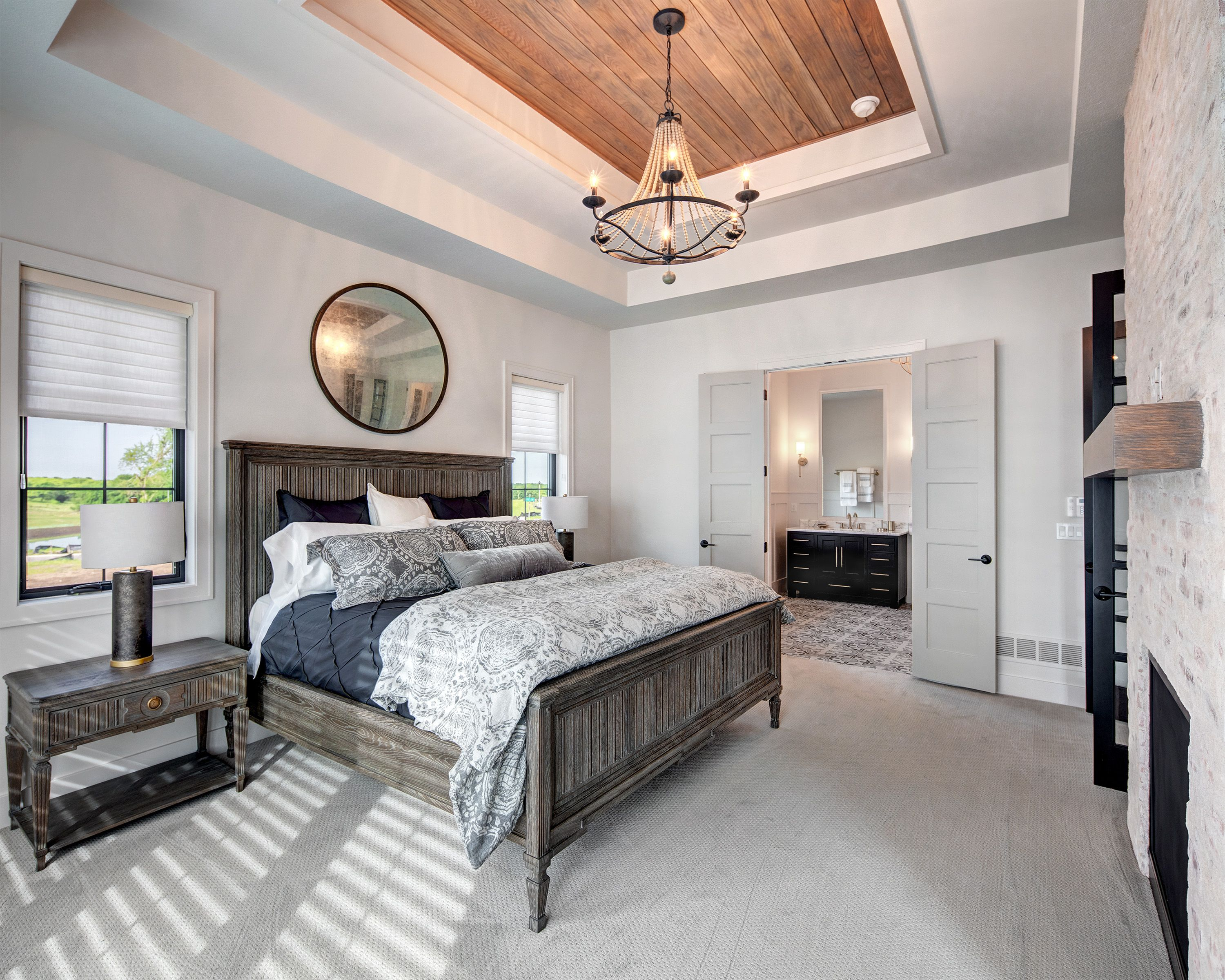 Large Master Suite Double Doors Wood Tray Ceiling Gray Master Bedroom Gray Master Bedroom Farmhouse Master Bedroom Tray Ceiling Bedroom