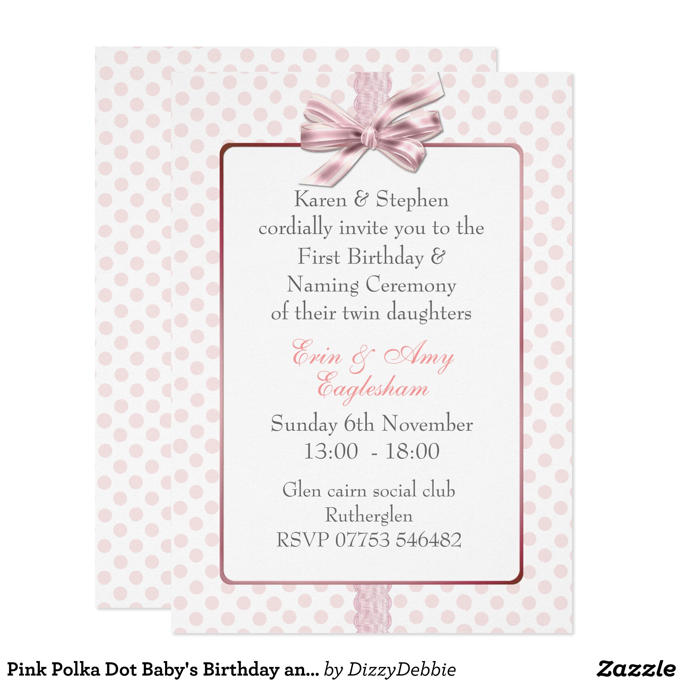 Pink Polka Dot BabyS Birthday And Naming Ceremony  Cm X  Cm