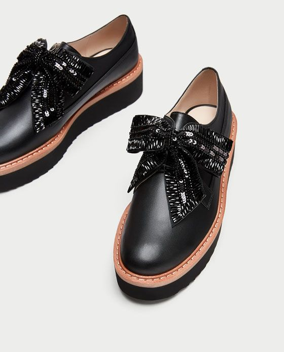 68c9b14b9087 Image 5 of PLATFORM DERBY SHOES WITH BOW from Zara