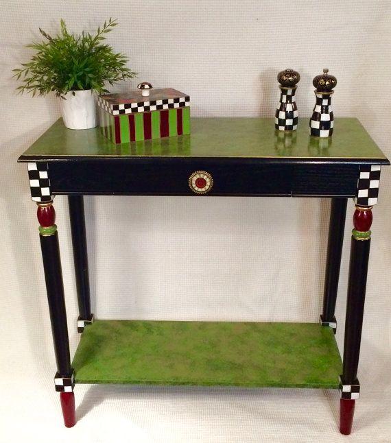 Whimsical muebles pintados pintados mesa consola mesa for Mesa esquinera redonda