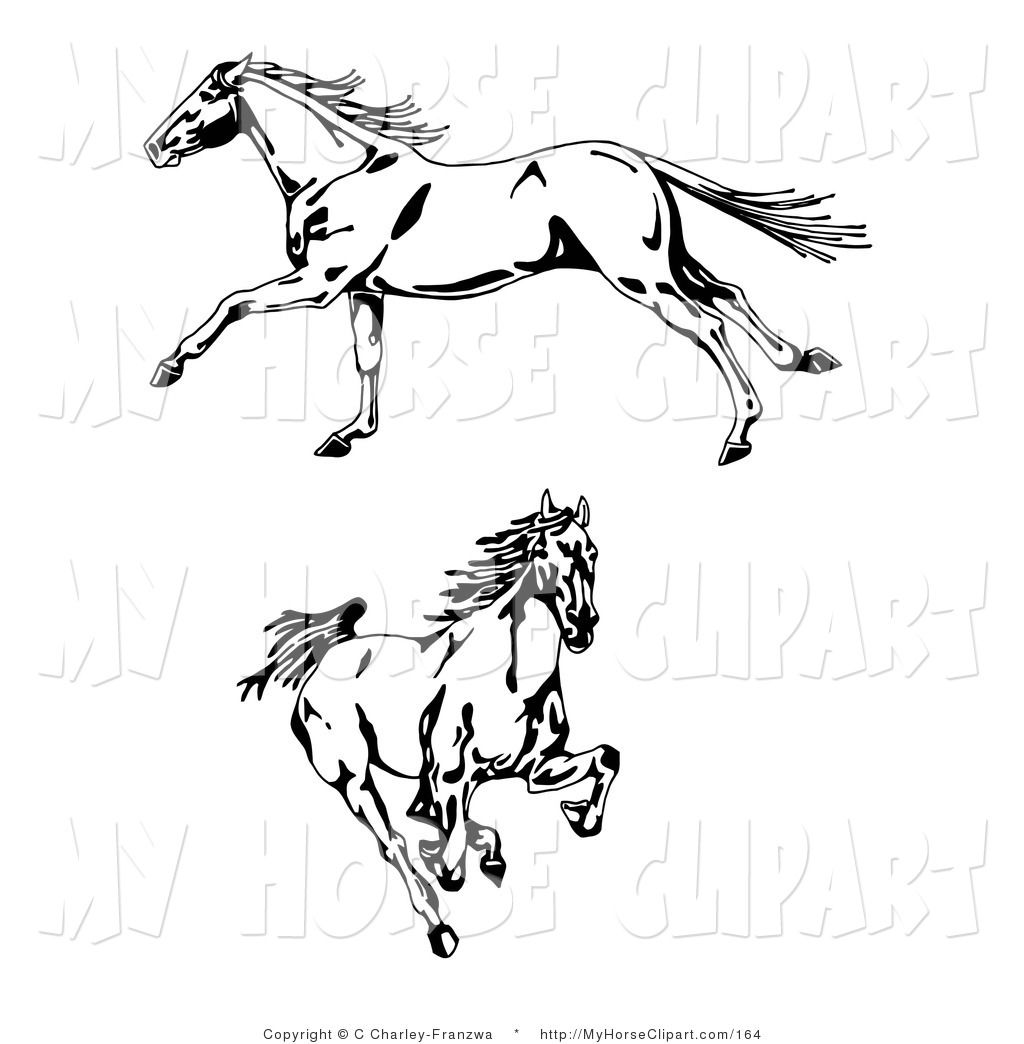 Clip Art of a Couple of Galloping Wild Horses, One in Profile ...
