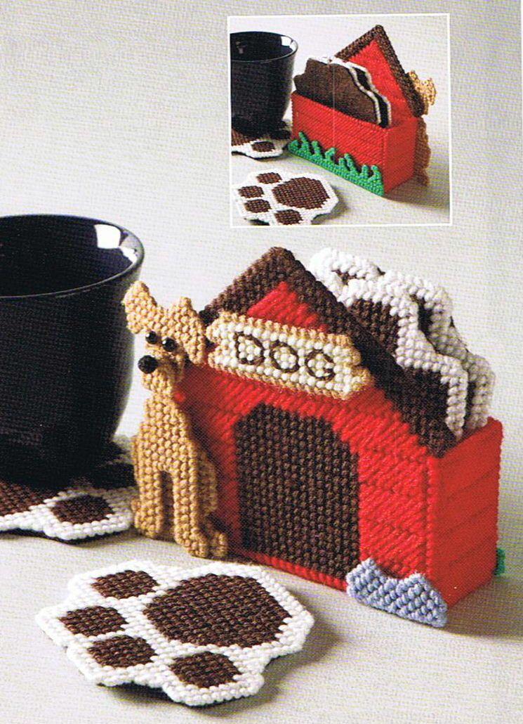 Doghouse Coaster Set Paw Print Plastic Canvas Pattern