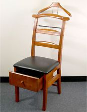 Mens Chair Valet Stand Black Tufted Dining Chairs Gentlemans Wardrobe Suit Ties Pants Butler Clothes Rack