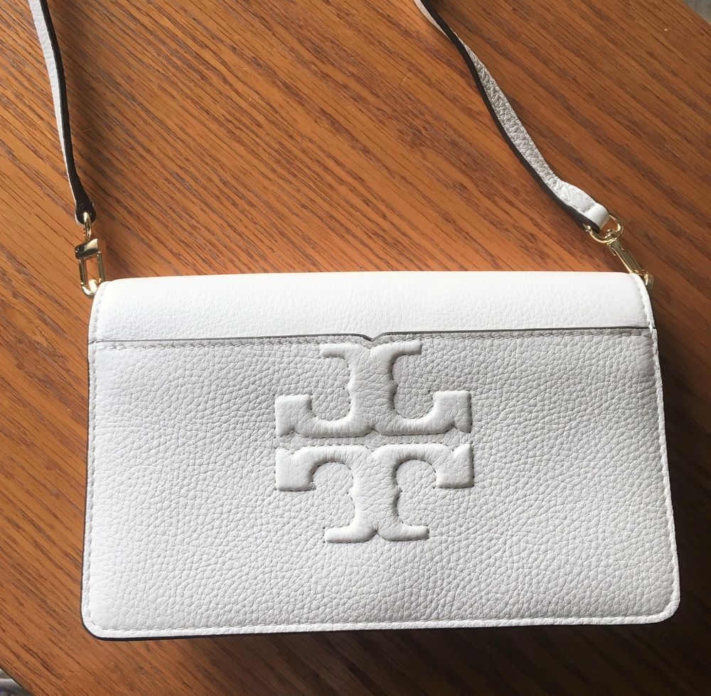 a1fe031bfd0e TORY BURCH Bombe-T CROSSBODY Clutch ~ New Ivory Pebbled Leather ~ New NWT   ToryBurch  Crossbody