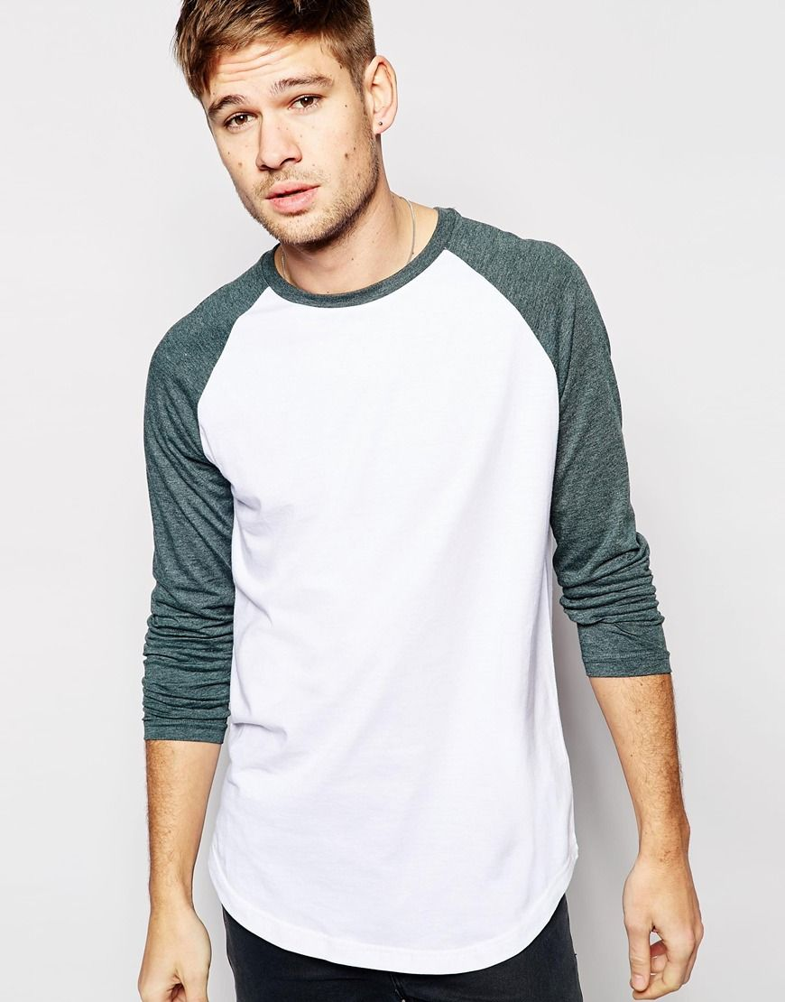 Long sleeved T-shirt by ASOS Soft-touch jersey Crew neck Contrast raglan  sleeves Curved hem Relaxed fit Machine wash Cotton Our model wears a size  Medium ...