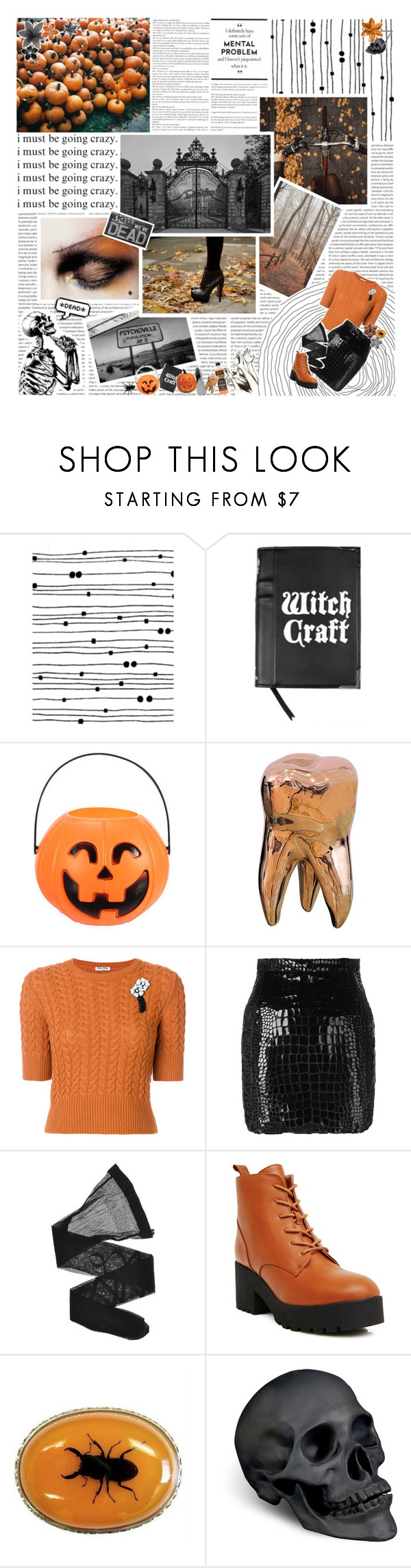 """""""!! cobwebs and jack-o-lanterns !!"""" by mormon-girl ❤ liked on Polyvore featuring GE, Miu Miu, Yves Saint Laurent, Giorgio Armani, L'Objet, SHAN, Clips, Halloween, Boots and orange"""