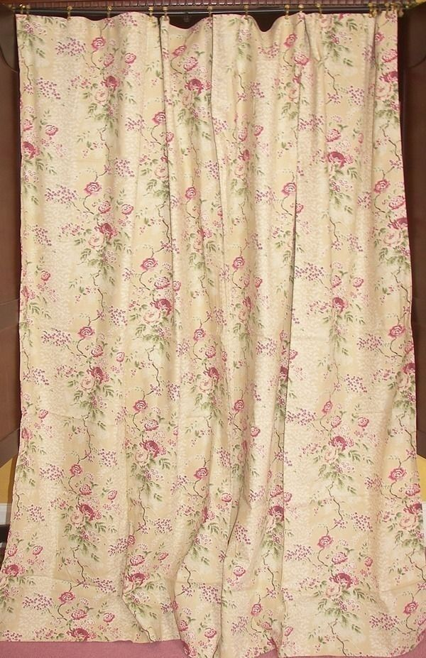 Rare VINTAGE FRENCH COUNTRY RALPH LAUREN BEIGE FLORAL FABRIC SHOWER CURTAIN