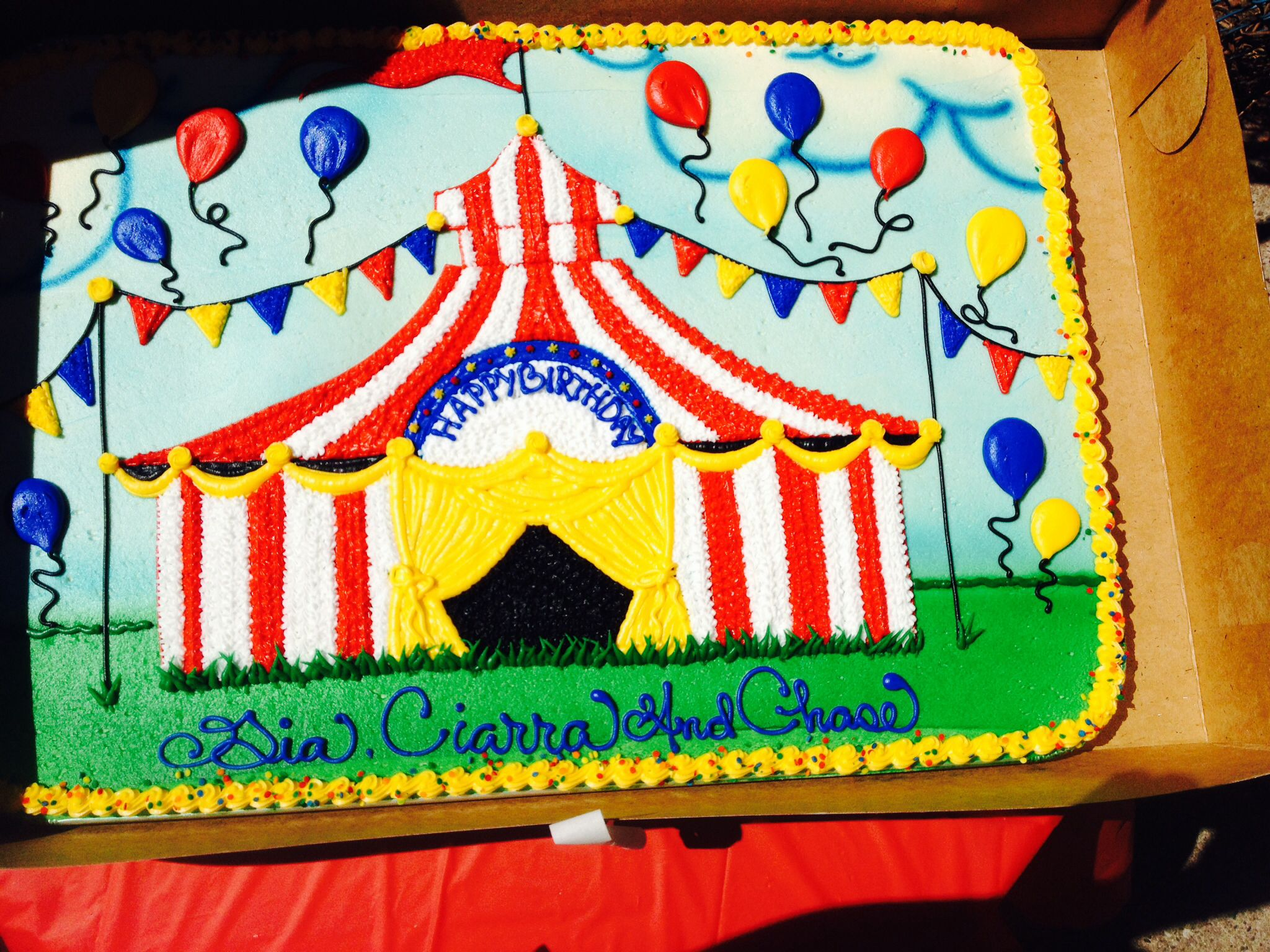 Carnival themebig top sheet cake design fiesta Bruno y Baby