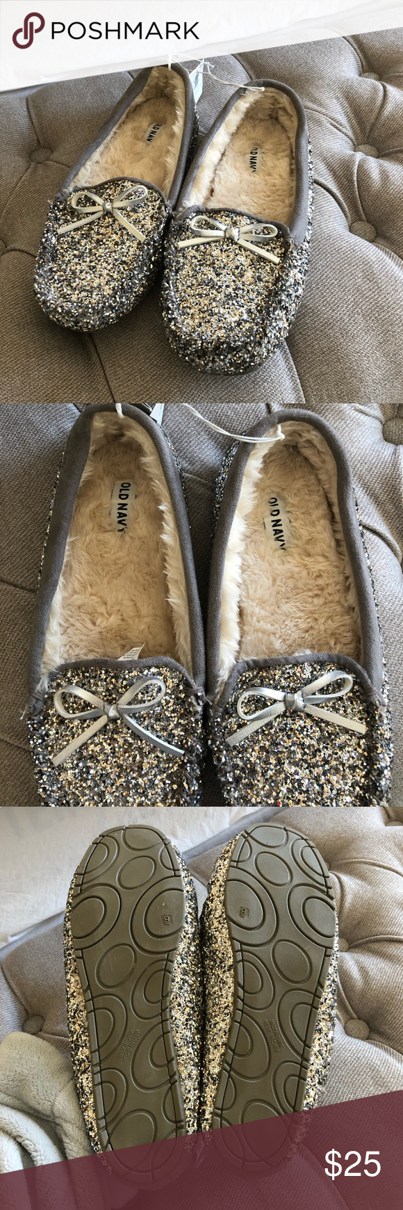 NWT! Old navy faux fur silver glitter
