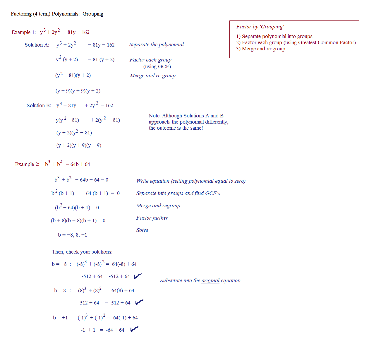 Factoring Polynomials By Grouping Worksheet