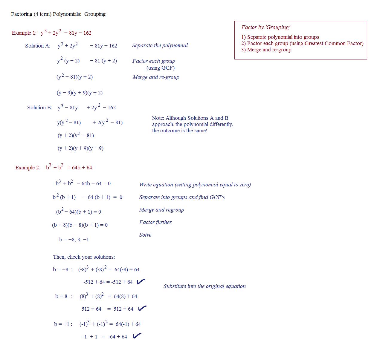 Math Worksheet Factoring By Grouping Algebra 2 Factoring