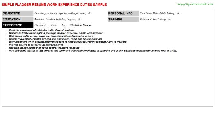 Flagger Resume | Flagger Job Resume Job Search Pinterest Sample Resume Resume