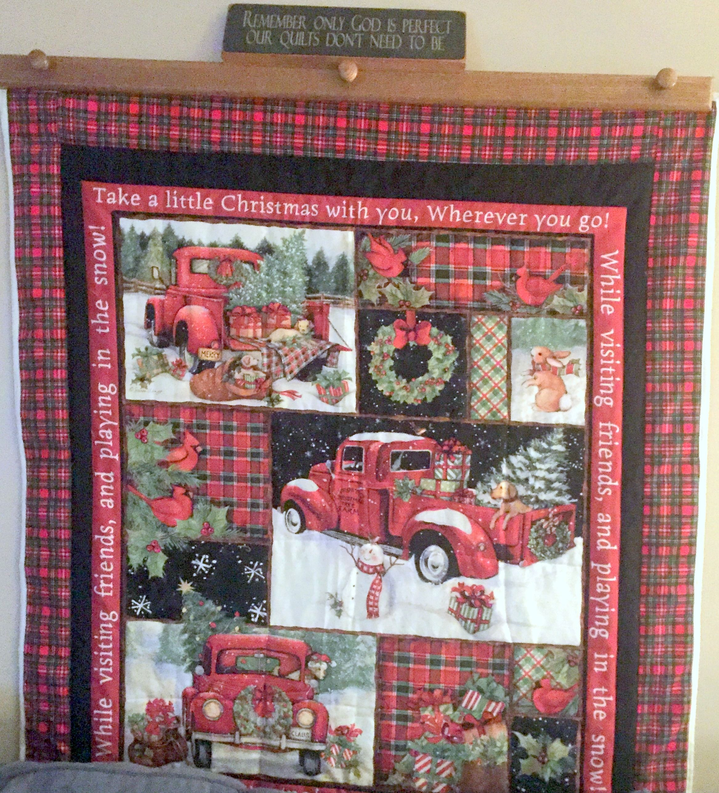 Little Red Truck Christmas Quilts Holiday Quilts Panel Quilts