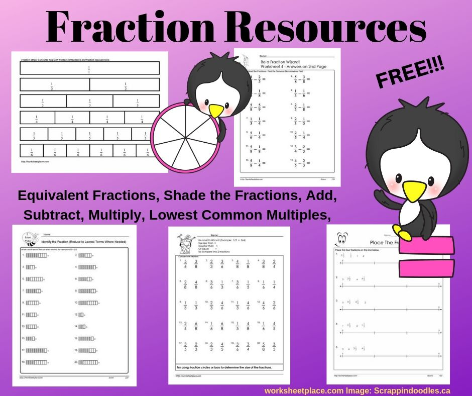 Free Fraction Worksheets And Resources For Grades 3 7 A Great Set Of Freebies Fractions Worksheets Free Fraction Worksheets Fractions