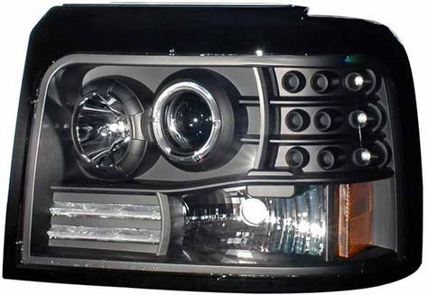 Ford F150 1992 1993 1994 1995 1996 Projector Headlights with angel eye halos and LED running ...