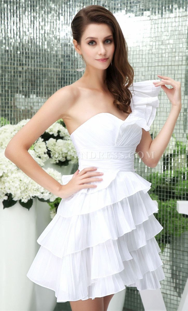 Mini Empire Tiers A-line One Shoulder Wedding Dress | wedding ...