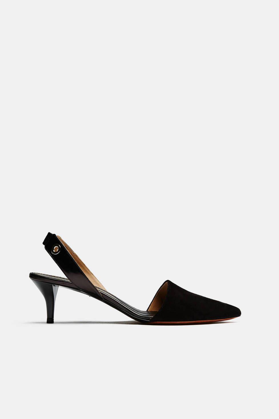 Suede Sling Back Kitten Heel Black Heels Kitten Heel Shoes Kitten Heels