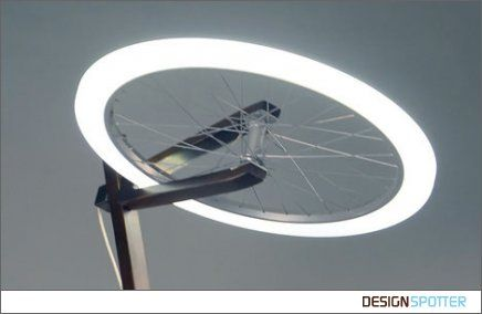 For Tom: Cycle Halo\' is a standing lamp made of a used bicycle wheel ...