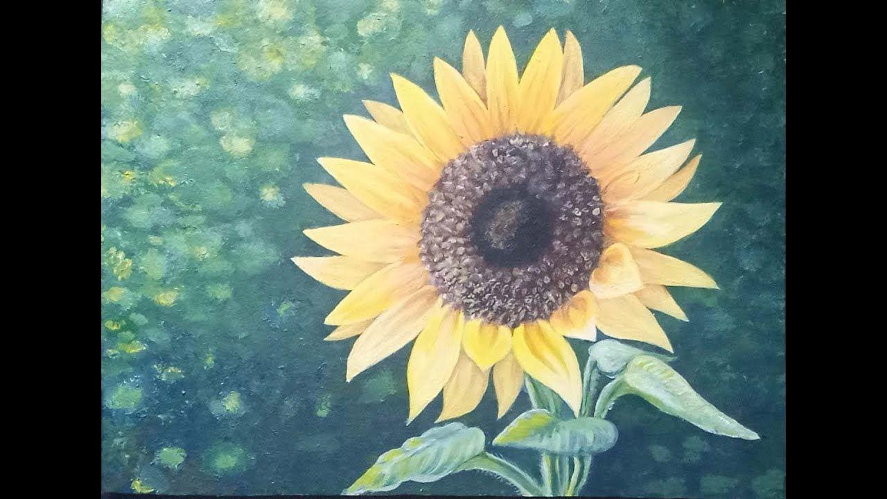 رسم عباد الشمس بالالوان الاكريليك Sunflower Drawing With Acrylic Colors Art Painting