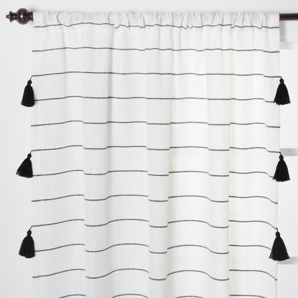 84 X54 Contrast Stripe Light Filtering Curtain Panels With Tassel