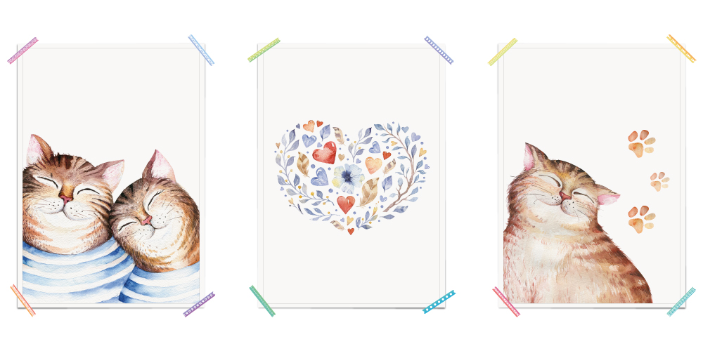 Katzen Herz Pfoten Haustiere Aquarell Poster Kinderzimmer