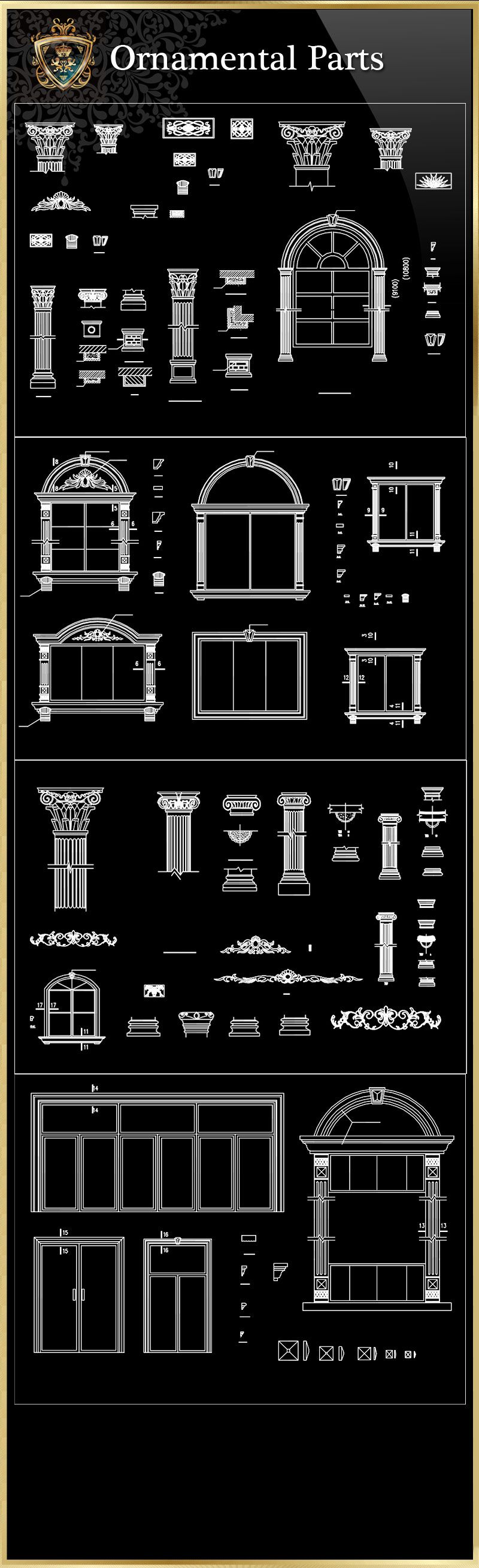 ☆【Ornamental Parts Of Buildings 8】Download Luxury Architectural Design CAD  Drawings