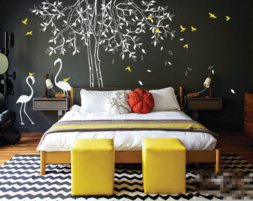 Individual Design Large Nursery Tree wall decal with Flamingos Wall Stickers For Kids Room Waterproof Vinyl Large Tree Wall Art