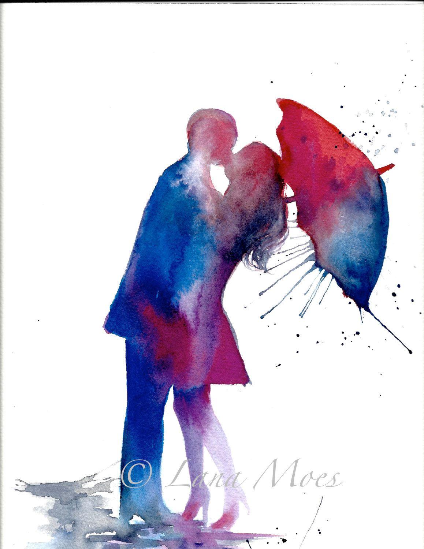Amour Paris Romance Kiss Rouge Parapluie Aquarelle Par Lanasart