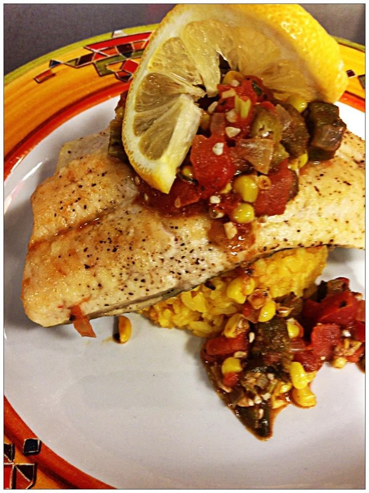 Chef Shawne Shell from Bright's Creek made this yummy Mountain Trout with Creole corn and rice