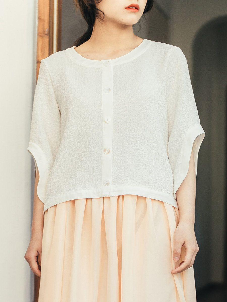 #AdoreWe #StyleWe Short Sleeved Tops - Designer Anne Chen White Elegant Buttoned Frill Sleeved Top - AdoreWe.com