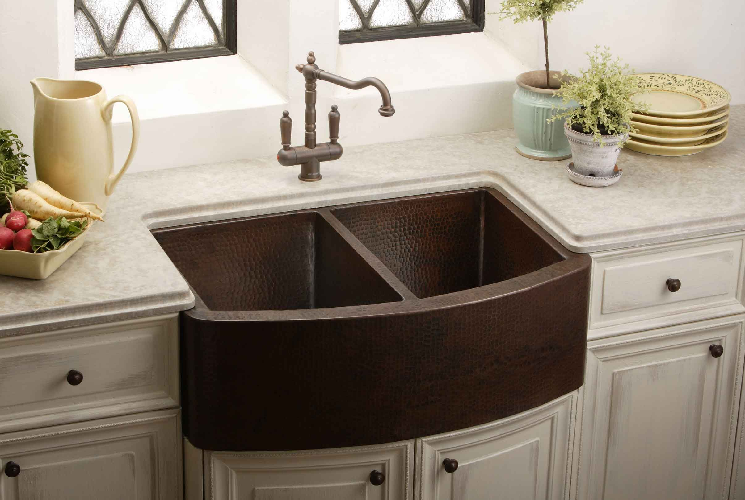 Farmhouse Sink Copper Hammered India Pied à Terre