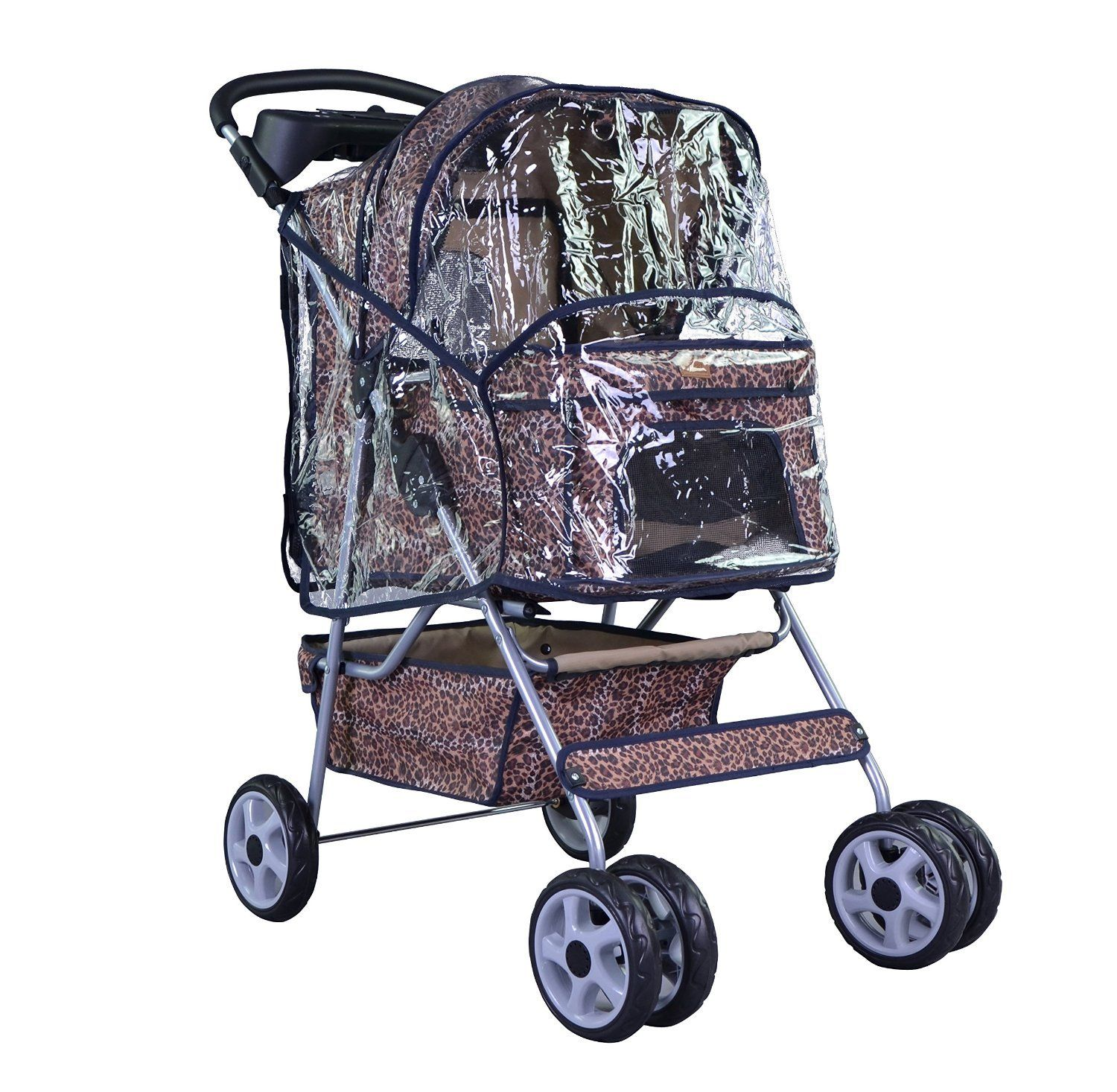 NEW Extra Wide Leopard Skin 4 Wheels Pet Dog Cat Stroller