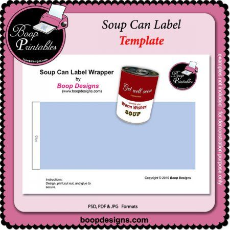 Soup Can label TEMPLATE by Boop Designs Printable Paper Craft - labeltemplate