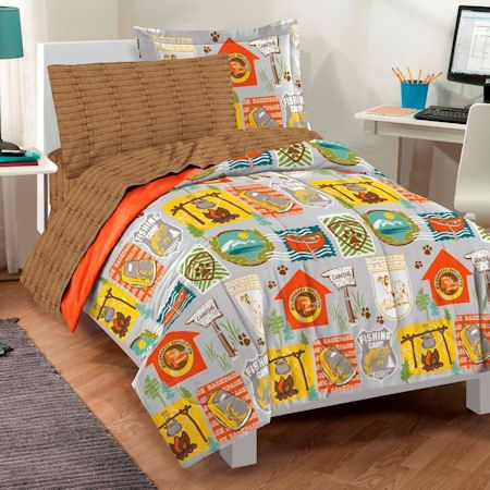 Grey Brown Orange Camping Bedding Twin Bed In A Bag Scout Scouting