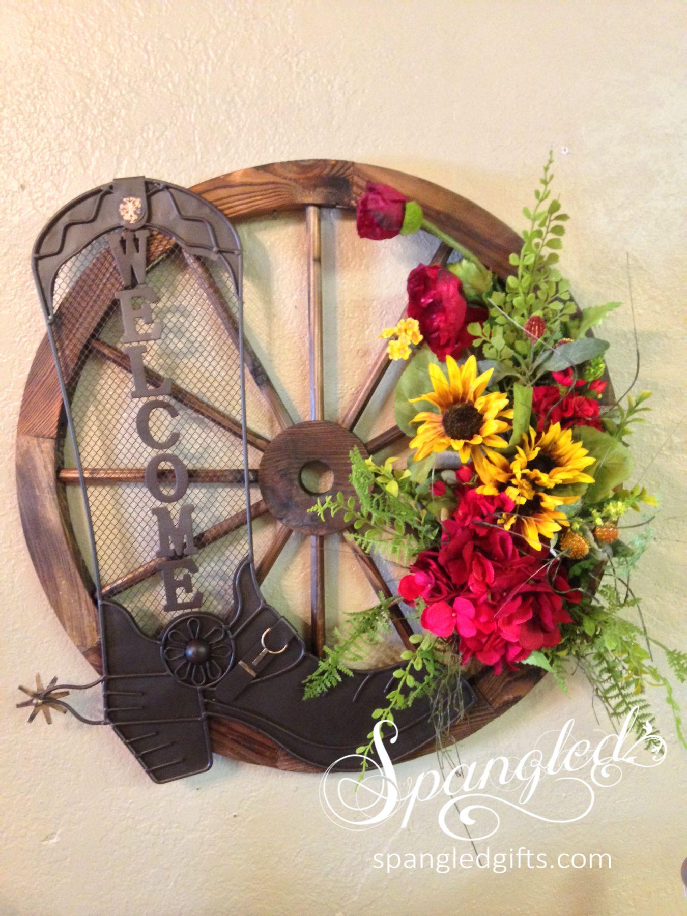 Wagon Wheel Welcome Wreath Arrangement Wagon Wheel Decor Wheel