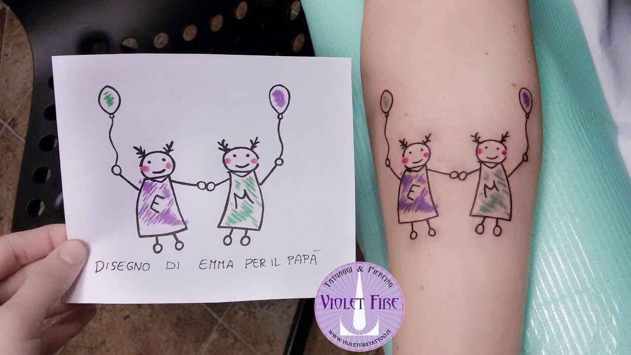 Tatuaggio disegno figlio, tatuaggio bambini, tatuaggio sorelline, tatuaggio  braccio, tatuaggio colori,