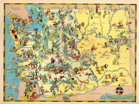1930\'s Vintage Washington State Map Cartoon Map Print ...