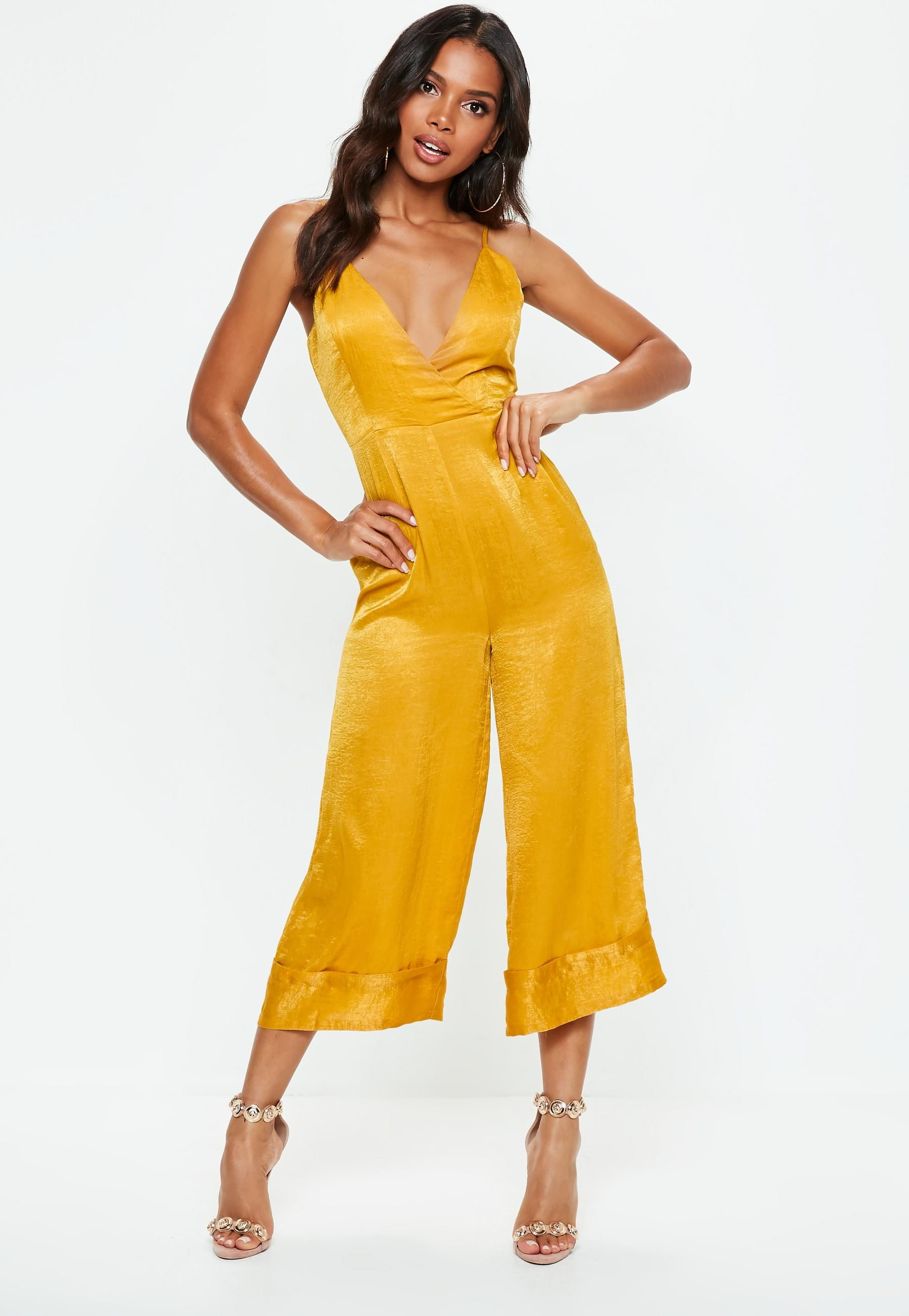 9a317c25e0e8 Mustard Yellow Cami Culotte Jumpsuit  afflink