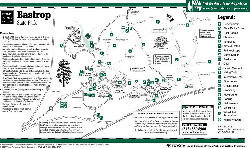 Bastrop State Park Map Bastrop State Park Facility Map | Texas  | Texas state parks