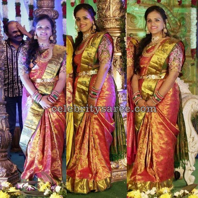 9b07b15fc9763 Bridal Jamdhani Saree Elbow Blouse