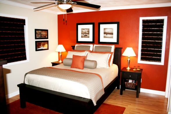 burnt orange bedroom | small master bedroom, we're not blessed with