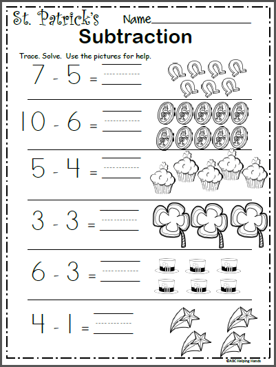 free st patrick 39 s day subtraction worksheet kindergarten march subtraction worksheets. Black Bedroom Furniture Sets. Home Design Ideas