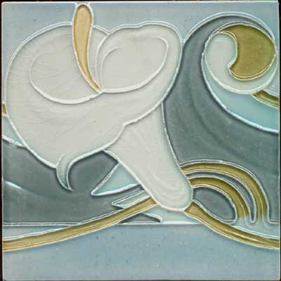 Belgian Art Nouveau Tile With A Calla Lily  Price : $98.00  Soft transluscent colors and sinewy flowing curves are the outstanding points of this antique tile from Belgium. The condition is excellent.