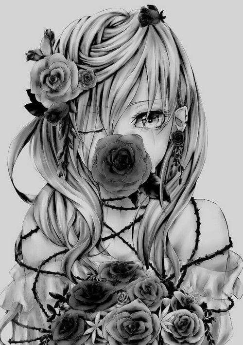 Anime flowers and anime girl kép