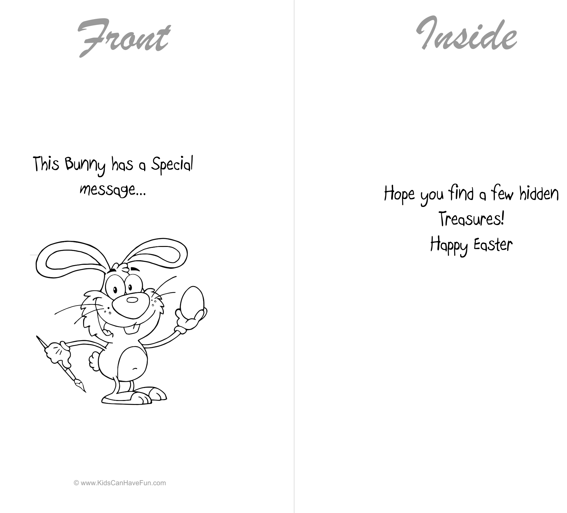 Happy Easter Bunny Cards To Color